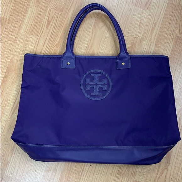 Tory Burch large nylon and leather tote
